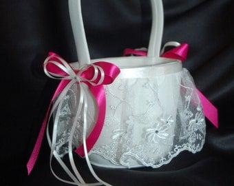 elegant flower girl basket (white/fuschia)