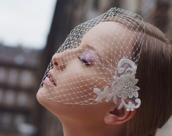 Flower birdcage veil, Bridal Head Piece, Russian veil