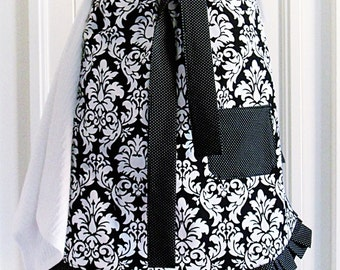 Damask  Half Apron in Black and White