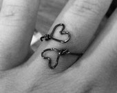 Purple Hearts Wire Ring