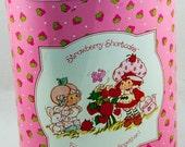 Pink Cheinco Vintage Tin Lithograph Strawberry Shortcake Trash Can Waste Basket