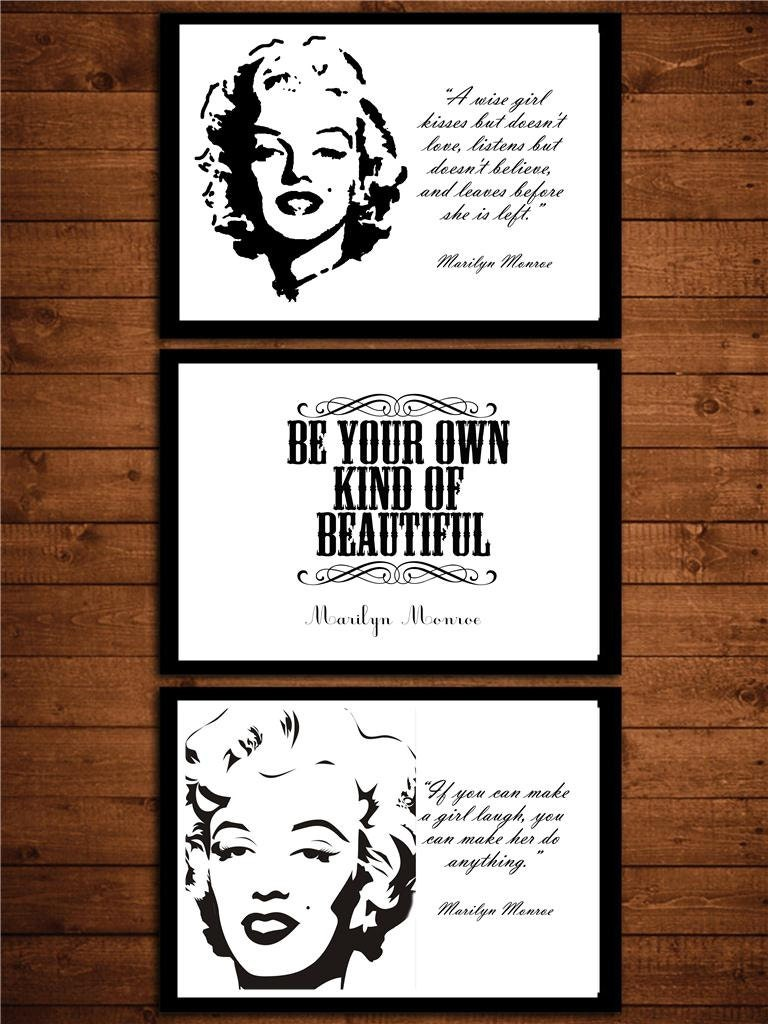 3 b&w vintage style marilyn monroe quote girls by theprintsworld