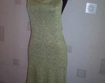 Elegant  knitted dress in pale green, hand-knitted  dress  knitted  ladies dress, women dress, summer  knitted dres
