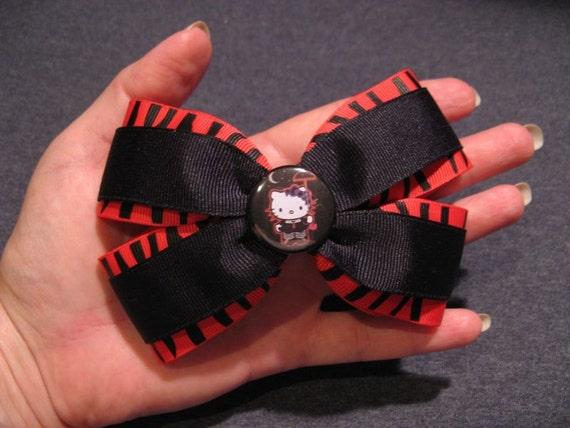 Goth Kitty Hair Bow Red Zebra- hand sewn