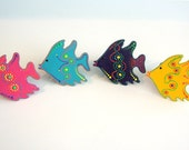Tropical Bright Blue, Yellow, Purple & Pink Funky Fish Napkin Rings