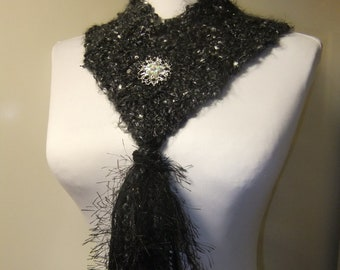 Black as Night Scarf Necklace knit crochet loop scarf with glitter yarn