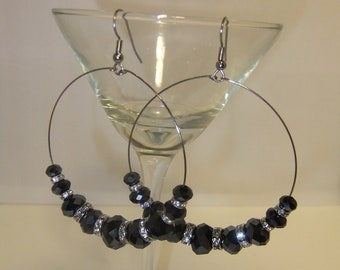 Black Dazzler Swarovski Crystal Earrings