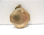 Victorian Gold Filled Pendant Clear Stone Filagree & Other Designs 20 mm 4.6 grams  #113