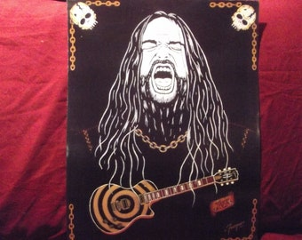 """Zakk Wylde in Art is a Limited Edition, Dark and Light Print that is a10""""x13"""" and Numbered by Artist Charles Freeman"""