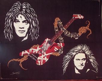"Van Halen in Art with Eddie Van Halen and David Lee Roth is a Limited Edition 10""x13"" numbered Print by Artist Charles Freeman"