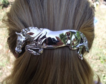 Jumping  horse barrette Bright finish Platinum plated  French clip Equine jewelry