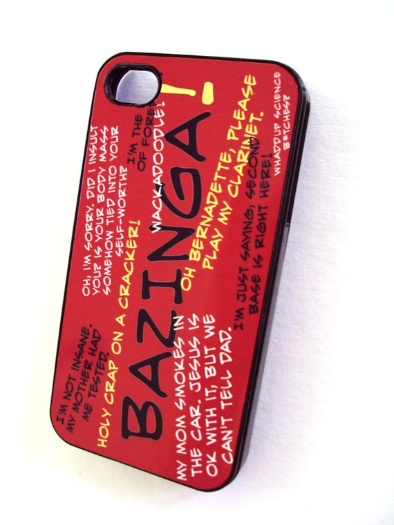 Sale Bazinga Nerdy Nerds iPhone Case fits iPhone 4 4S Hard Plastic Case