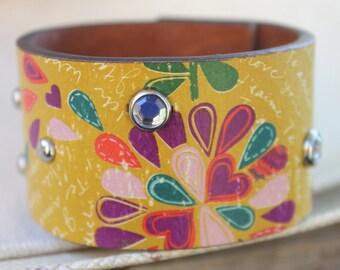 Multi-Colored Leather Cuff Bracelet, Floral Heart