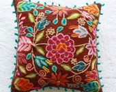 Handwoven pillow cover - brown flowers