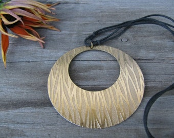 Upcycled Gold Pendant on Choker Style Necklace, Statement Piece, Eco-Friendly, Layering Necklace, Circular Pendant, Adjustable Black Cord