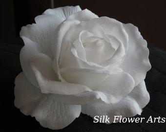 White Bridal Flower Hair  Clip Wedding Hair Clip  Wedding Accessory White Rose Bridal Hair Clip