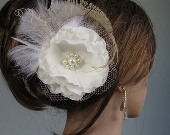 Ivory Bridal Flower Hair Clip Wedding Accessory  Pearls Feathers Bridal Fascinator Bridal Accessory
