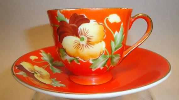 Antique Vintage Petite Occupied Japan OJ Tea Cup Flower Garden Pansie