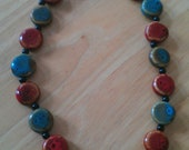 Red & Teal glass bead necklace