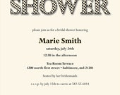 Polka Dot Cream and Black Bridal Shower Invitation, 8.5 x 5.5, DIY Printing