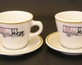 Restaurant Ware Cups And Saucers Keiths Model T Truck Stop Shenango China 2 Sets