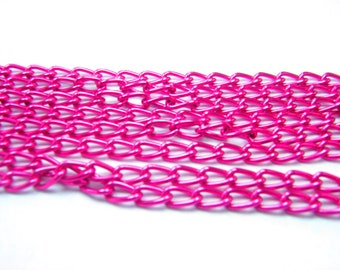 16,5 Feet  5 meters Pink Chain 4 x 7 mm Circle ,Thickness of wire 1 mm Chain