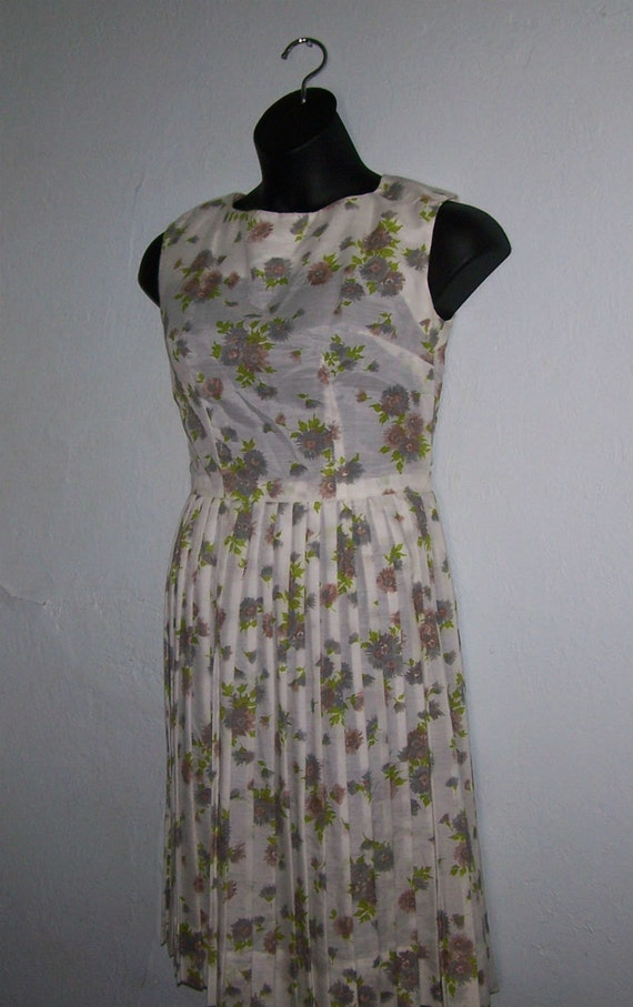 Vintage Sheer Floral Dress by L'aiglon