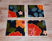 Set of 4 Coasters - Bold and Colorful, Blue Orange and Pink