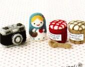 Miniature Everyday Life Items Needle Felting Kit - Camera, Fruit Jam, Spoon, Matryoshka Doll
