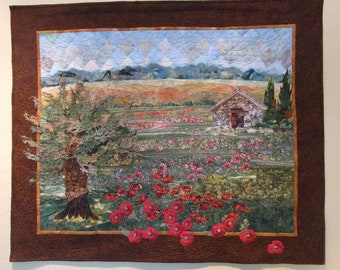 "Landscape quilt : ""French Poppies"""