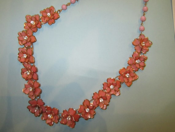 Vintage Pink Flower Necklace - RESERVED FOR ANGIE.