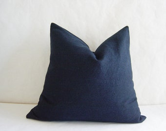 "24"" by 24"" Dark Blue Denim Pillow Cover"