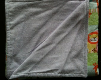 Double sided receiving blanket for babies - animals