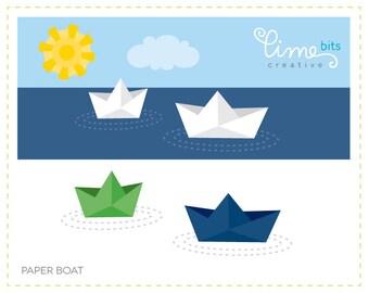 Paper Boats Clip Art