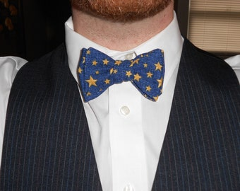 Star-Spangled Blue Thistle/Butterfly Cotton Bowtie--Adjustable, Easy-fastening
