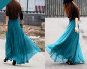 women's peacock green silk Chiffon 8 meters of skirt circumference  long dress maxi skirt qz02 - colorstore2011