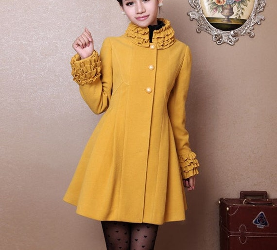 women's Princess style cute bow Fitted Wool autumn winter Coat jacket / dress  yellow dy33 S-XL