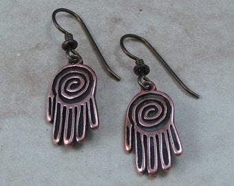 Petroglyph Styled Copper Hand with Swirl Earrings on Hypoallergenic Ear Wires, Petroglyph Earrings, Southwestern Styled Jewelry