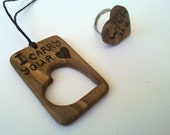 Wooden Dog Tag pendant and ribg set..I carry you heart with me...Inspirational quote ...LOVE