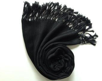 BLACK PASHMINA, black shawl, pashmina shawl, pashmina scarf, scarf, shawl, scarves