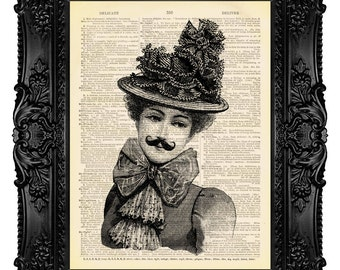 Victorian Woman with Moustache - ORIGINAL ARTWORK - Dictionary Art Print Vintage Upcycled Antique Book Page no.52