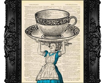 Dictionary Art ALICE in Wonderland MAD TEA Party Art Print on Vintage Dictionary Page Upcycled Recycled 355