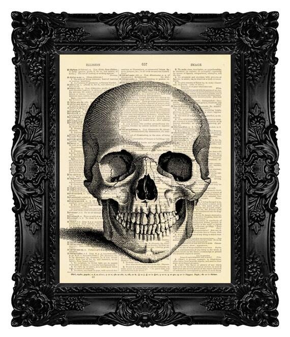 DIGITAL PRINT, Skull print, Skull gifts, Skull decor, Skull Head, Skull Home Decor, Dictionary print Book Art GEEKERY Geek Skull  Anatomy 25