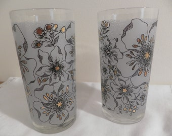 Vintage Atomic Glass Tumblers - Frosted White with Gold Trimmed Paint