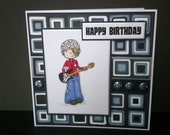 handcrafted male birthday card, rockstar card, child card, teen birthday card, guitar card, music card, hand coloured card, card for him