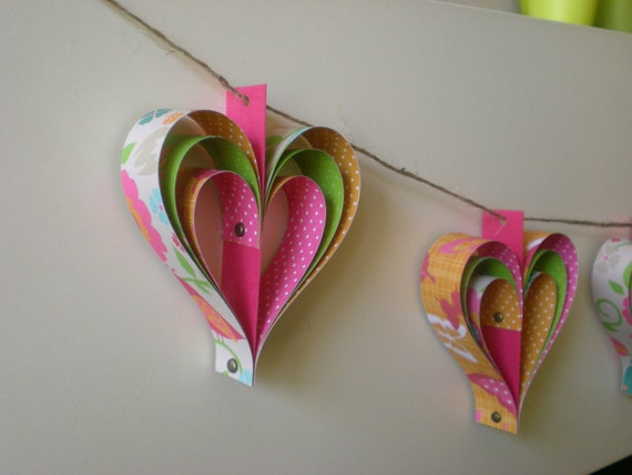 paper hearts decoration, Valentines garland, home decor, set of 10, nature theme, ornament, paper bunting