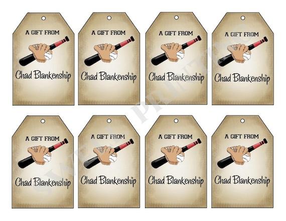 Printable Personalized Gift Tags, Baseball Gift Tag, Personalized gift ...