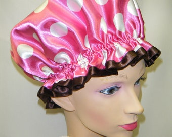 Pink/ White Polka Dots Shower Cap