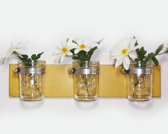 Cottage Chic- Wood 3 Jar Vase/ Home Organizer- Latte- Cottage Chic- French Chic- Shabby- Country Decor- Choose From Many Colors
