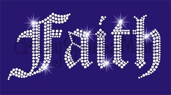 Faith Bling Hot fix Rhinestone Transfer